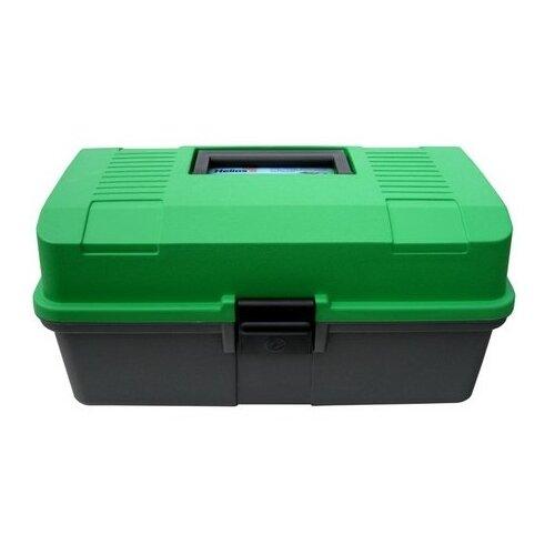 Ящик для рыбалки HELIOS двухполочный 33х20х16см зеленый/серый