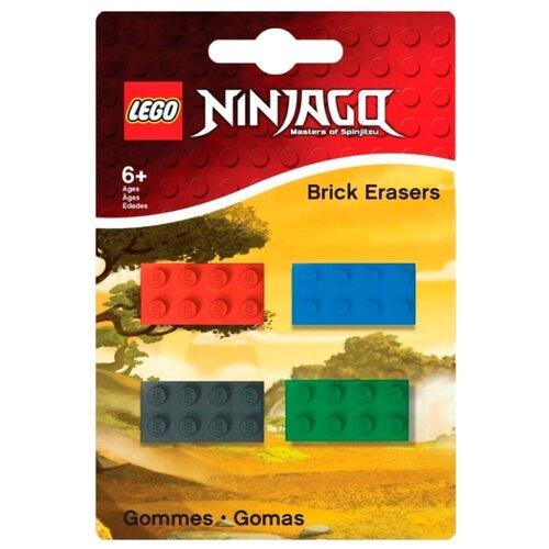 Купить LEGO Набор ластиков Ninjago 4 шт. красный / синий / серый / зеленый, Ластики