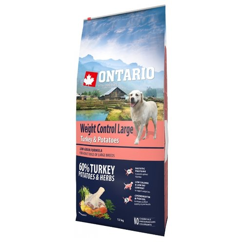 Корм для собак Ontario (12 кг) Weight Control Large Turkey & Potatoes 12 кг (для крупных пород)