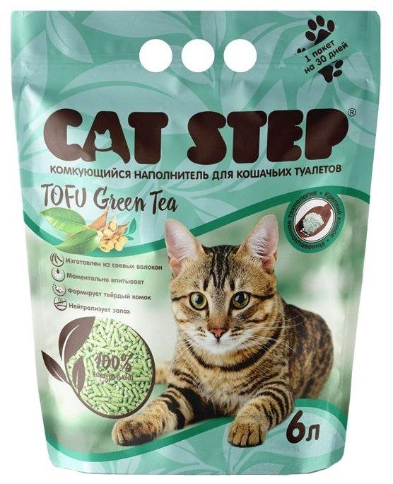Комкующийся наполнитель Cat Step Tofu Green Tea растительный (6 л)