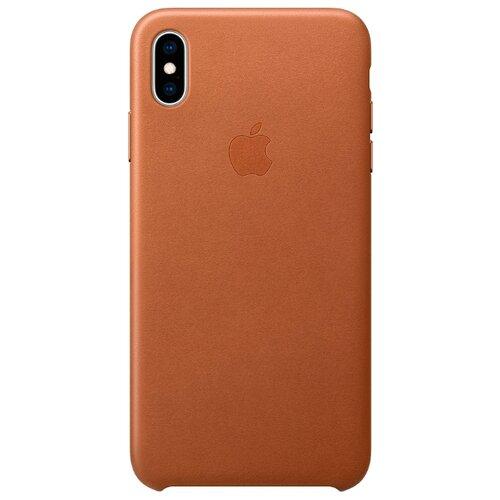 Чехол Apple кожаный для iPhone XS Max золотисто-коричневыйЧехлы<br>