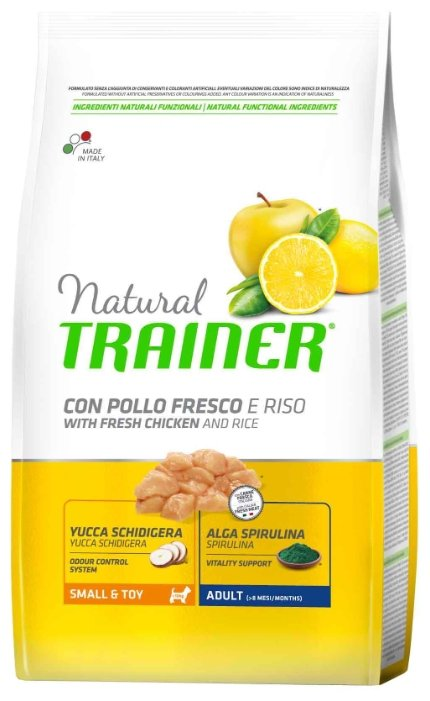 Корм для собак TRAINER Natural Adult Small&Toy Chicken and rice dry