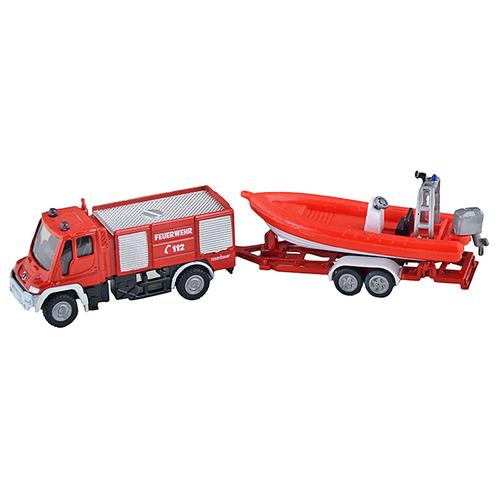 Пожарный автомобиль Siku с катером (1636) 1:87 красный