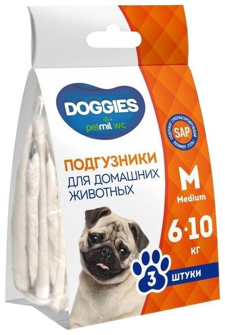Подгузники для собак Медмил Petmil WC Doggies M белый 3 шт. белый