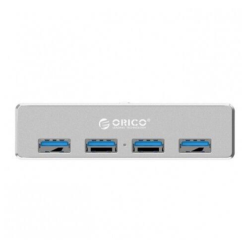 USB-концентратор ORICO MH4PU, разъемов: 4, серебристый