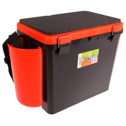 Ящик для рыбалки HELIOS FishBox односекционный (19л) 38х25.5х32см оранжевый/черный