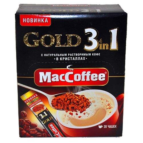 Растворимый кофе MacCoffee Gold 3 в 1, в стиках (20 шт.) растворимый кофе nescafe 3 в 1 крепкий в стиках 20 шт