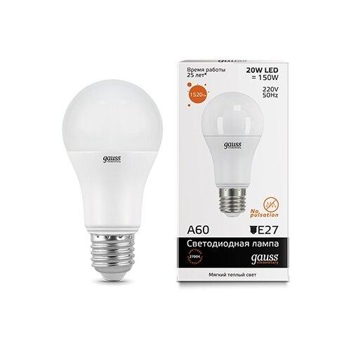 Лампа светодиодная gauss 23219, E27, A60, 20Вт лампа светодиодная gauss 23219 e27 a60 20вт