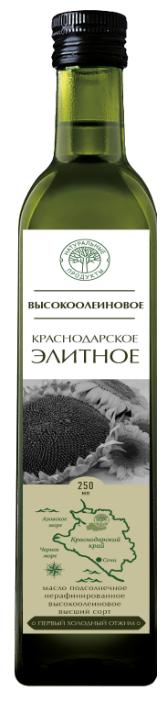 Натуральные продукты Масло подсолнечное высокоолеиновое Краснодарское элитное 0.25 л