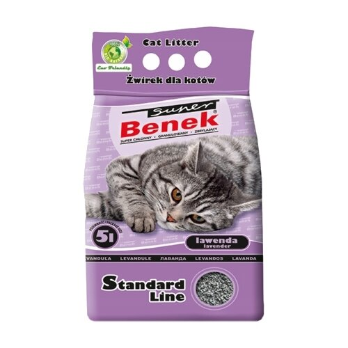 Комкующийся наполнитель Super Benek Стандарт Лаванда 5 л комкующийся наполнитель super benek компакт натуральный 5 л