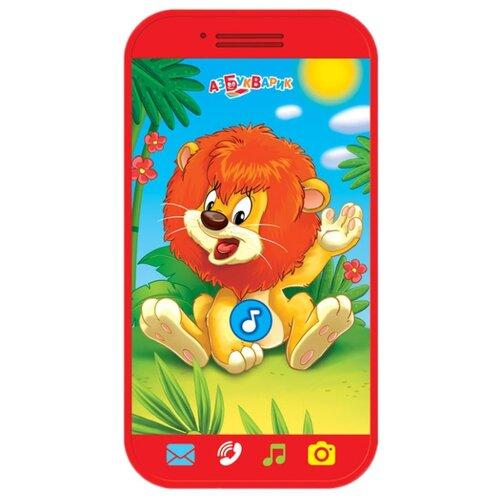 Интерактивная развивающая игрушка Азбукварик Мини-смартфончик Львёнок красный интерактивная развивающая игрушка азбукварик говорящий смартфончик говорящая зоо азбука