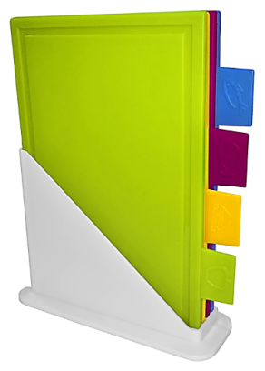 Доска разделочная Giaretti, набор из 4 штук, на подставке, 24.8х31х0.82см, пластик, GR1875
