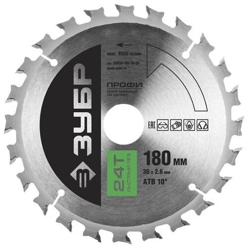 Пильный диск ЗУБР Профи 36850-180-30-24 180х30 мм диск пильный зубр 180х30 мм 24т 36850 180 30 24