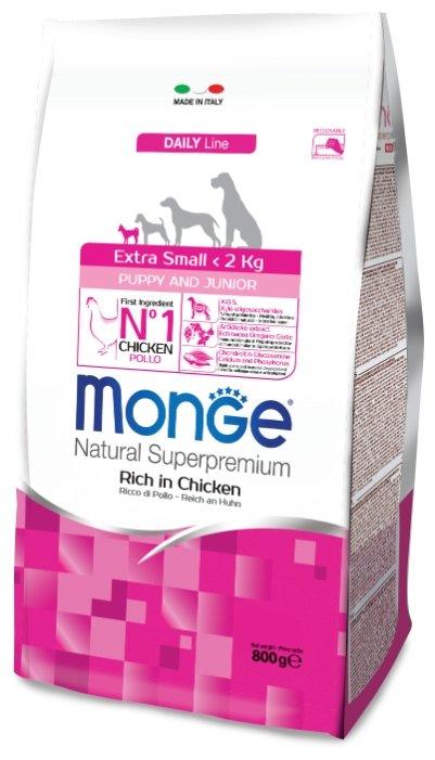 Корм для собак Monge Dog Extra Small Puppy&Junior – Курица с рисом. Для щенков и юниоров миниатюрных пород