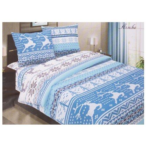 цена Постельное белье 2-спальное с евро простыней Традиция 1103 Аляска бязь голубой онлайн в 2017 году