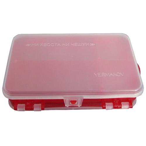 Коробка для приманок для рыбалки HELIOS двусторонняя 14х8х4 см красный