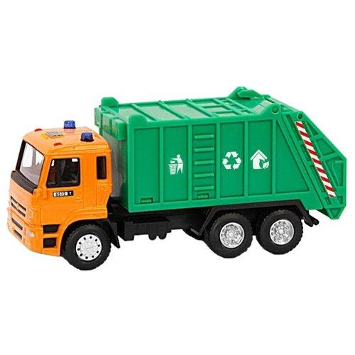 Купить Мусоровоз Автопанорама 1200089/1200090 1:54 оранжевый/зеленый, Машинки и техника