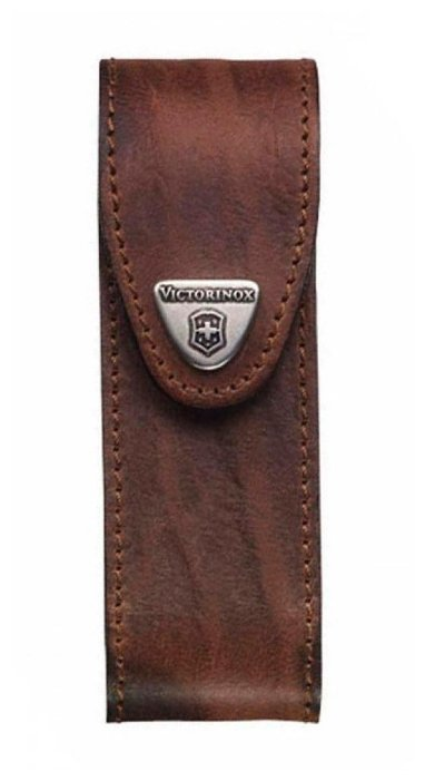 Чехол для складных ножей Victorinox 4.0547, рукоять 111 мм 2-4 уровня, натуральная кожа, цвет коричневый, крепление на пояс, Victorinox (Викторинокс)
