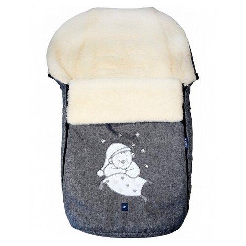 Конверт-мешок Womar S77 Exlusive Bear melange fabric в коляску 95 см серыйКонверты и спальные мешки<br>