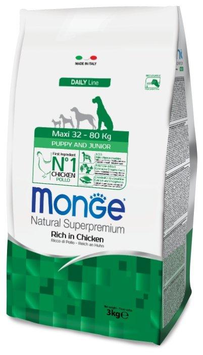 Корм для щенков Monge Daily Line для здоровья костей и суставов, курица с рисом 3 кг (для крупных пород)