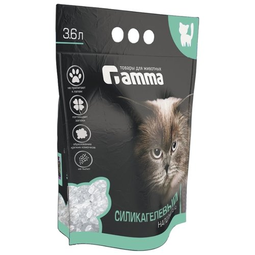 Впитывающий наполнитель Гамма Силикагелевый 3,6 л впитывающий наполнитель glamour cats силикагелевый антибактериальный 3 8 л 1 7 кг
