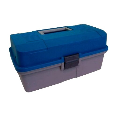 Ящик для рыбалки HELIOS двухполочный 33х20х16 см синий/серый