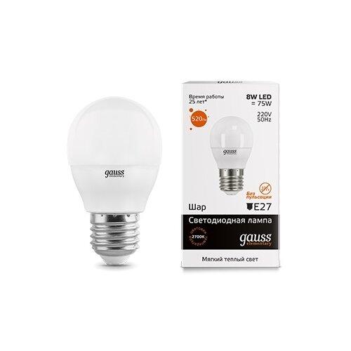 Лампа светодиодная gauss 53218, E27, G45, 8Вт лампа светодиодная gauss 102802108 e27 a60 8вт