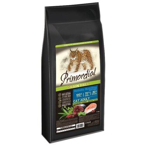 Сухой корм для кошек Primordial беззерновой, с лососем, с курицей, с индейкой, с тунцом 6 кг