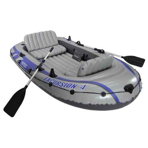 Надувная лодка Intex Excursion-4 Set (68324) серый надувная лодка excursion 3 set весла насос до 300кг intex
