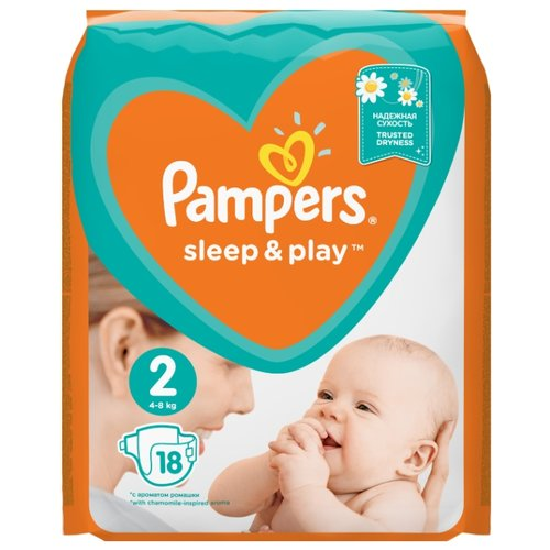 Купить Pampers подгузники Sleep&Play 2 (4-8 кг) 18 шт., Подгузники