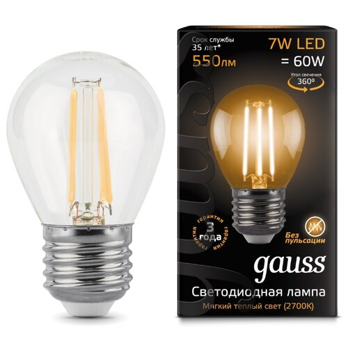 Лампа светодиодная gauss 105802107, E27, G45, 7Вт лампа светодиодная gauss 105802205 d e27 g45 5вт