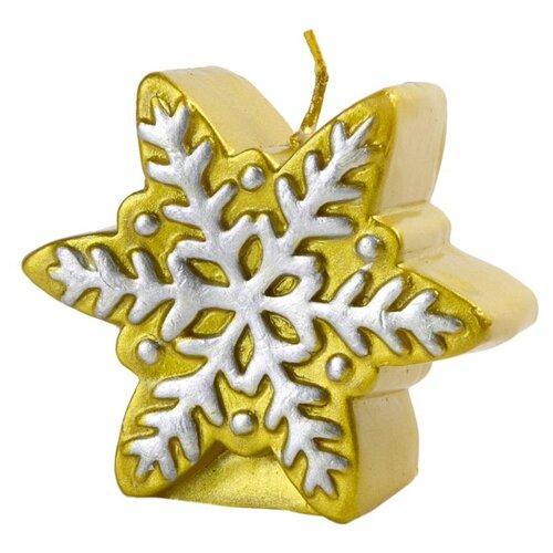 Свеча Феникс Present новогодняя Снежинка (78314 / 78315 / 78316) золотая