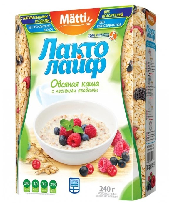 Matti Каша Лактолайф с лесными ягодами, порционная (6 шт.)