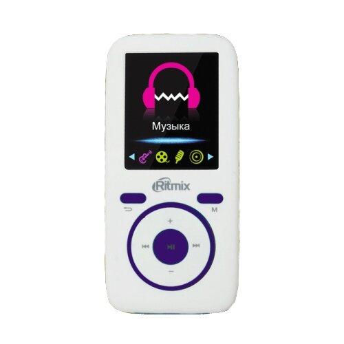 Плеер Ritmix RF-4450 4Gb белый/фиолетовый плеер ritmix rf 3410 4gb белый