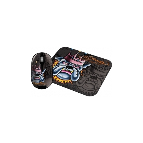 Мышь Ed Hardy Wireless mouse+pad King Dog Black USB