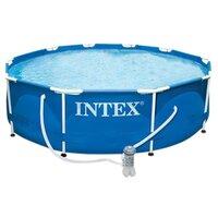 Каркасный бассейн Intex Metal Frame Pool, 305х76см + фильтр-насос, арт. 28202, Интекс