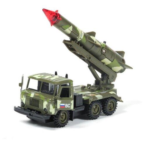 Купить Ракетная установка ТЕХНОПАРК ГАЗ 66 Вооруженные силы (CT-1299-R-3) 1:43 зеленый камуфляж, Машинки и техника