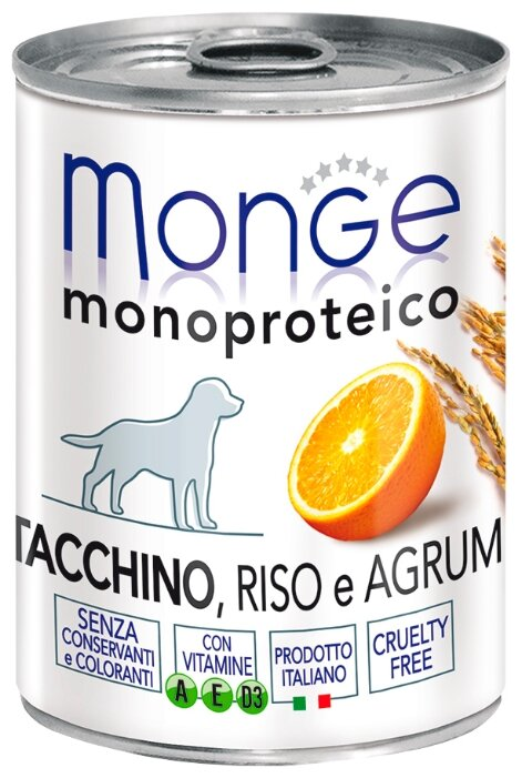 Корм для собак Monge Monoprotein индейка с рисом, с цитрусовыми 3шт. х 400г