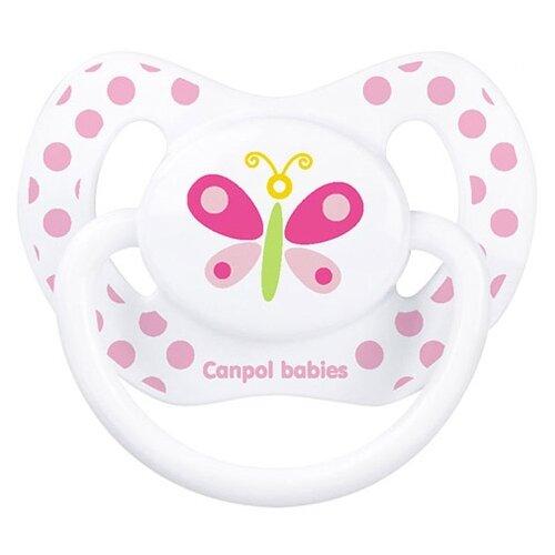 Купить Пустышка силиконовая ортодонтическая Canpol Babies Summertime 0-6 м (1 шт.) белый/бабочка, Пустышки и аксессуары