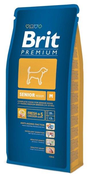Корм для пожилых собак Brit Premium курица (для средних пород)