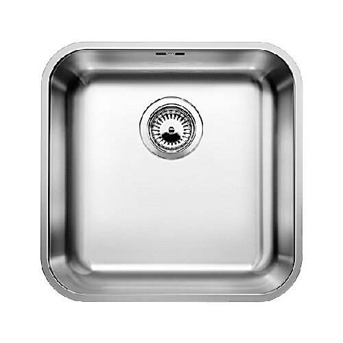 Фото - Врезная кухонная мойка 43 см Blanco Supra 400-U с клапаном-автоматом нержавеющая сталь полированная кухонная мойка blanco supra 450 u 518203