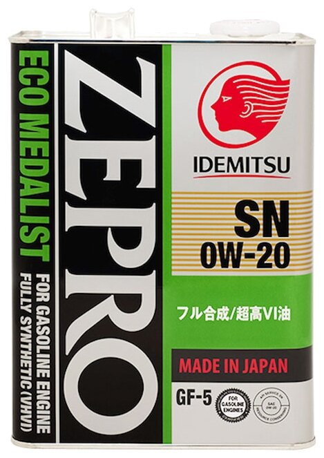 Масло IDEMITSU Zepro Eco Medalist SN/GF-5 0W20 моторное синтетическое 4 л