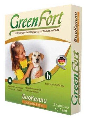 GreenFort БиоКапли от блох для собак 2–10 кг (3 пипетки)