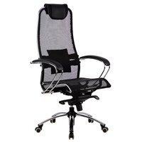 """Кресло для руководителя офисное метта SAMURAI"""" S-1, кевларовая ткань-сетка, темно-коричневое"""""""
