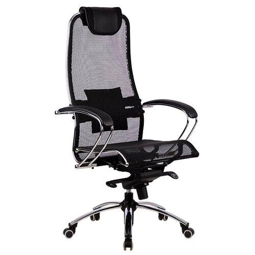 Компьютерное кресло Метта SAMURAI S-1 офисное, обивка: текстиль, цвет: черный компьютерное кресло метта bp 2 pl офисное обивка натуральная кожа цвет 721 черный