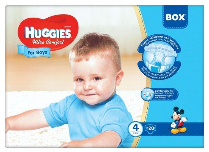 Huggies подгузники Ultra Comfort для мальчиков 4 (7-16 кг) 128 шт.
