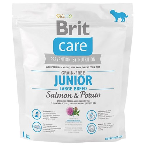 Корм для собак Brit Care Junior Large Breed Salmon & Potato (1.0 кг)Корма для собак<br>