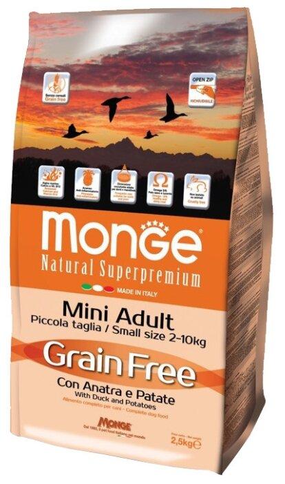 Корм для собак Monge Grain Free Mini Adult – Утка с картофелем. Беззерновой корм для собак