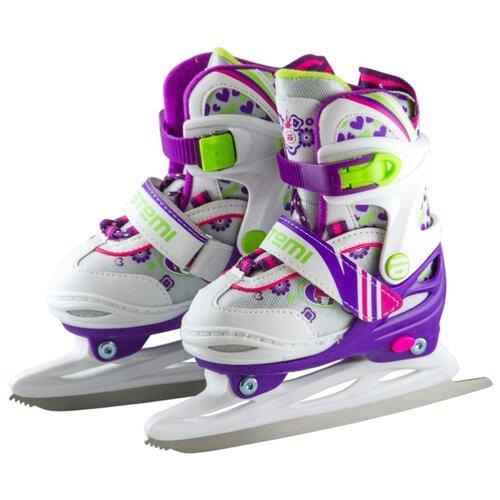 Детские прогулочные коньки ATEMI AKSK-17.01 Ice Girl для девочек, белый/фиолетовый р. 30-33