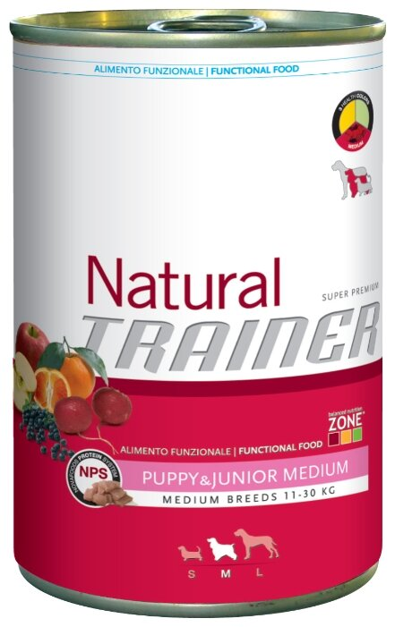 Корм для собак TRAINER Natural Puppy&Junior Medium canned